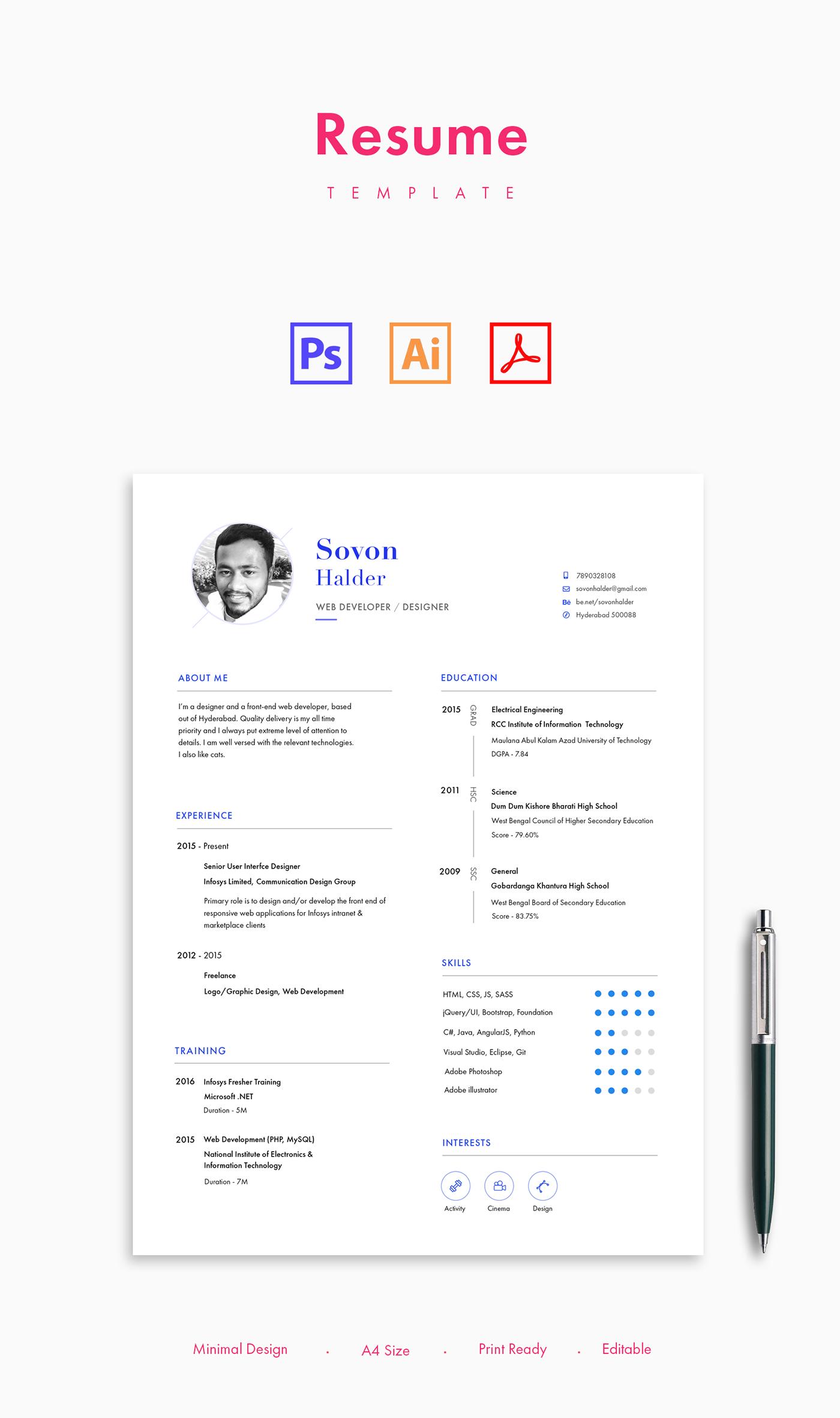 minimal,free,Resume,clean