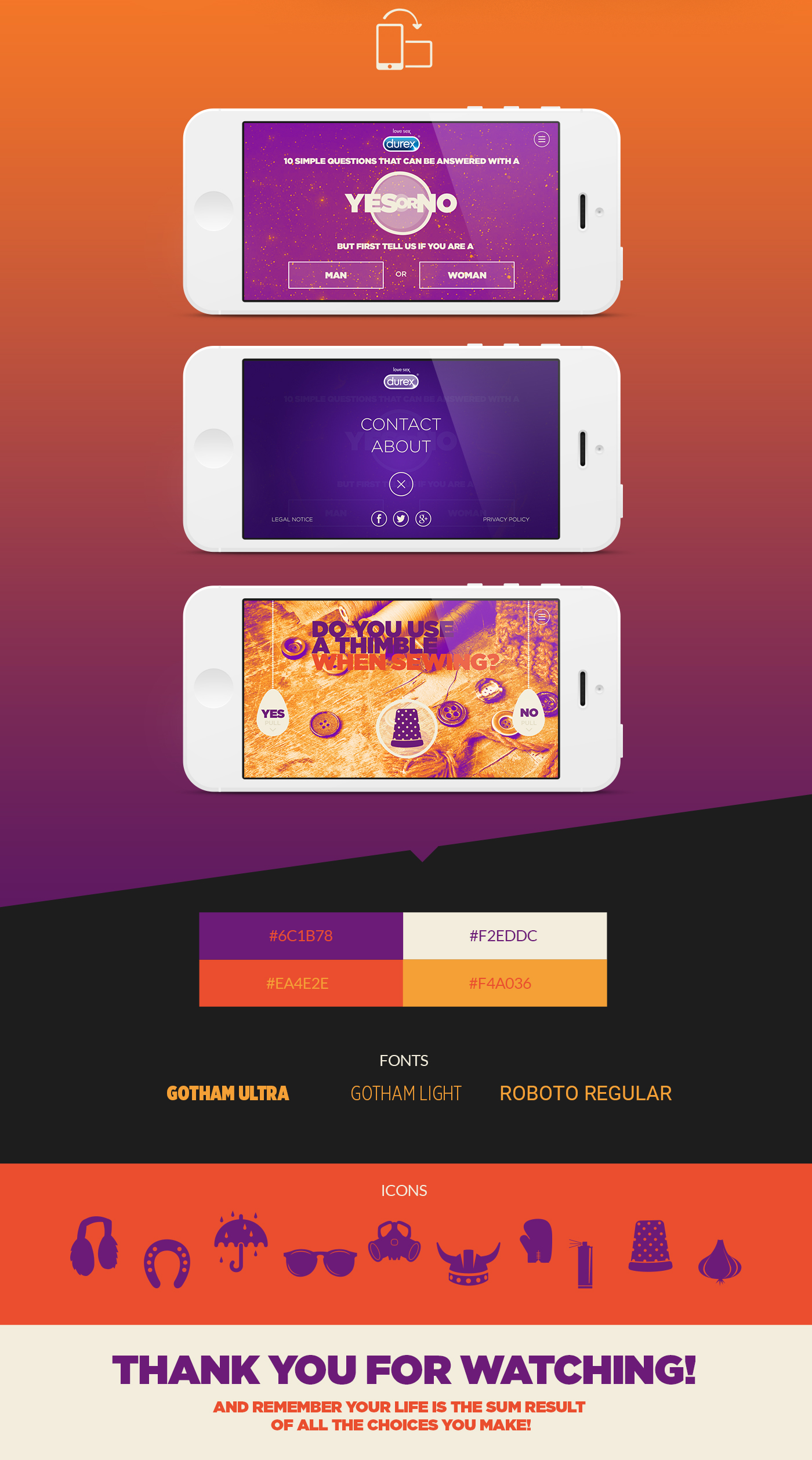 durex Responsive Website web site purple orange gradient site mobile iPad CONDOM infographic