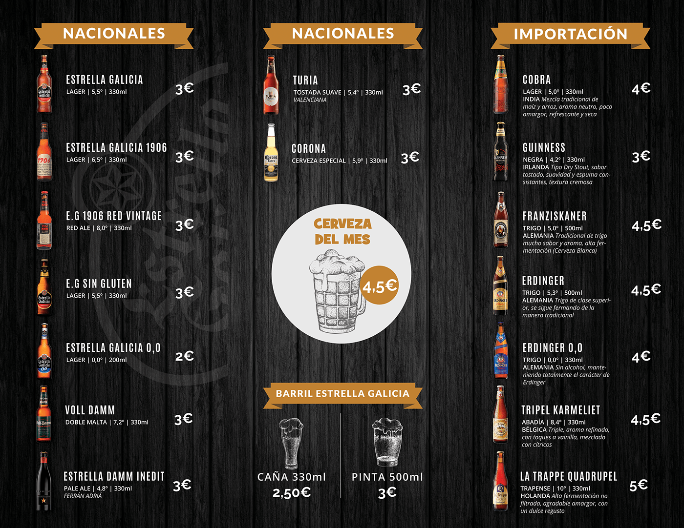 Alcala de Henares beer Drink Menu madrid menu restaurant wine