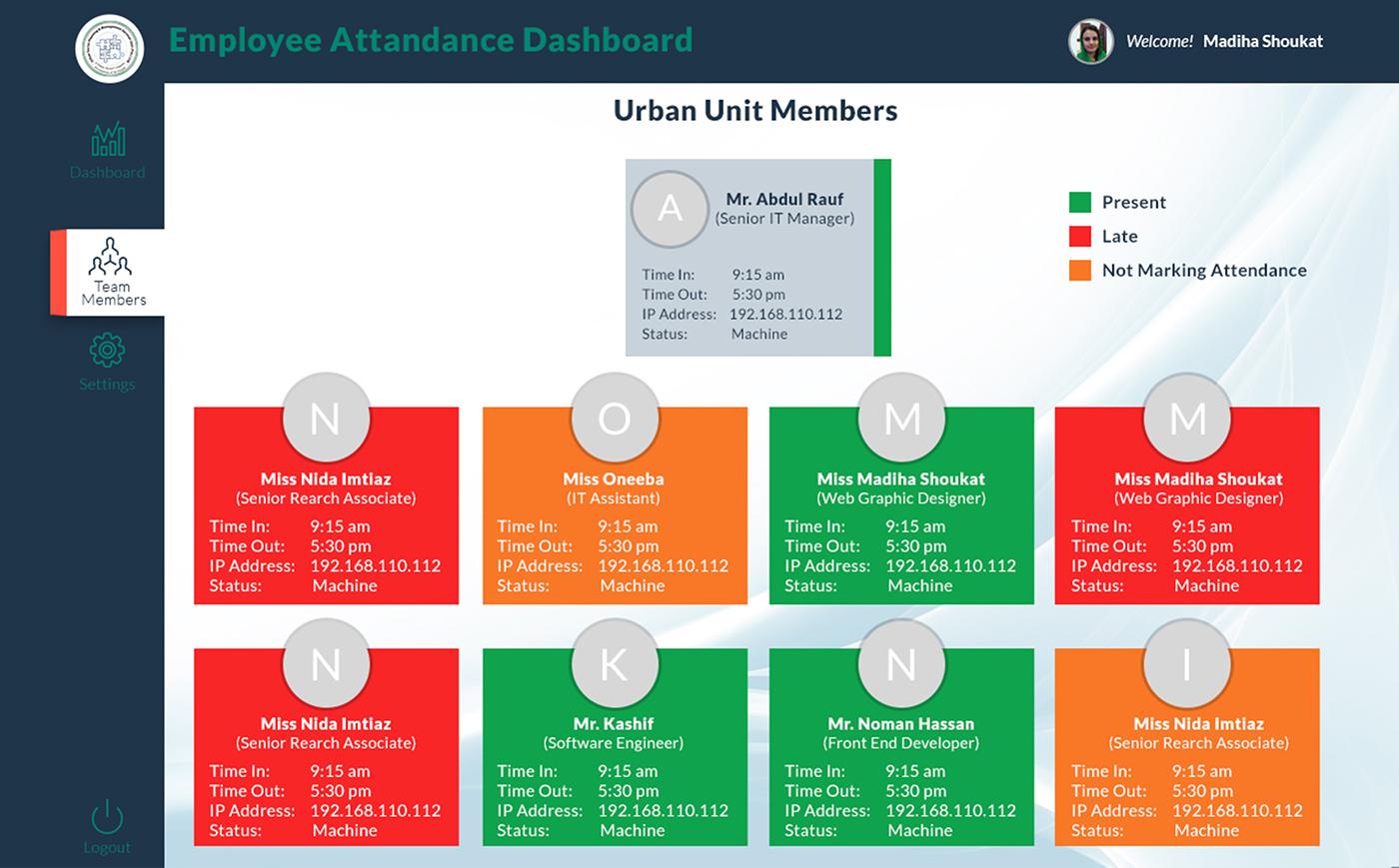 employee attendance system on behance