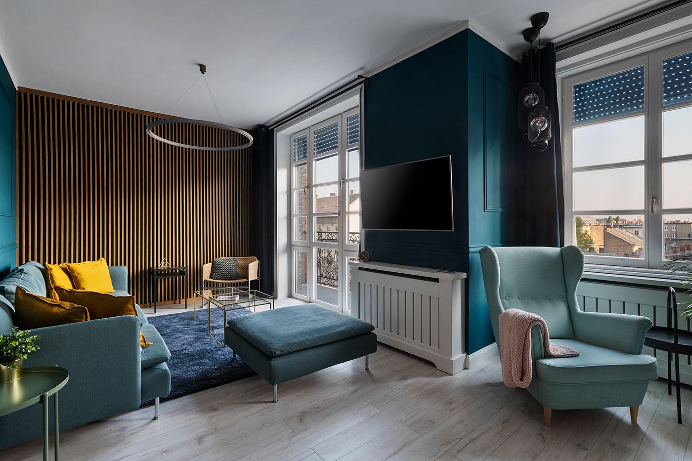 budapest Interior gasparbonta midcentury modern renovation wood brick teal