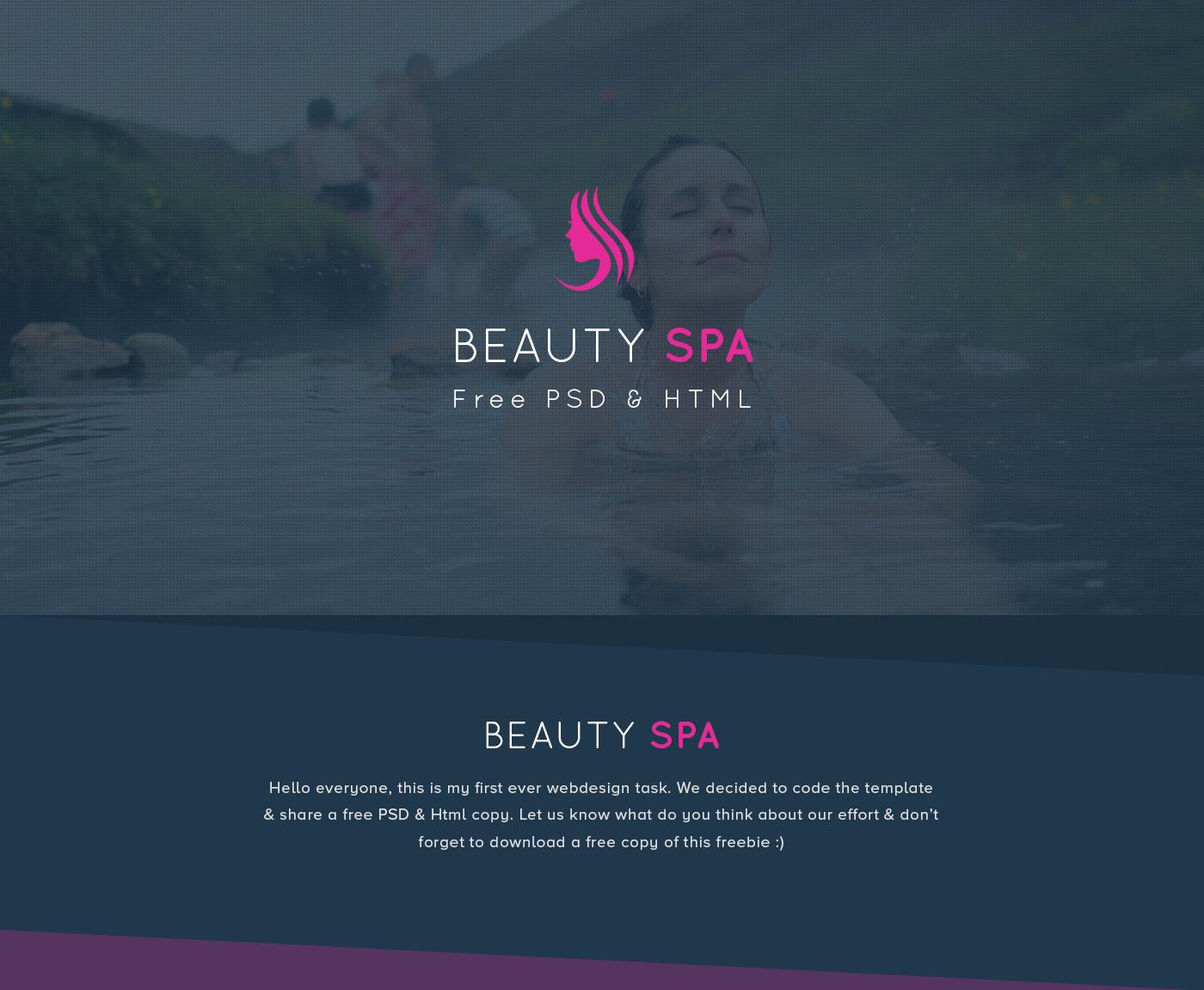 Spa salon landing page Website design free HTML freebie free download free psd