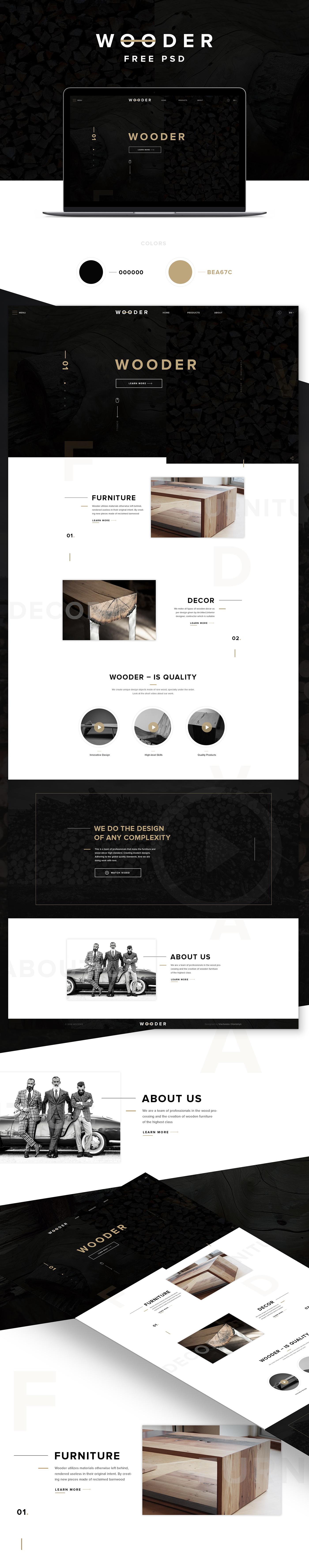 wood free psd freebie template Layout Web site black download Mockup minimal Minimalism gold free psd
