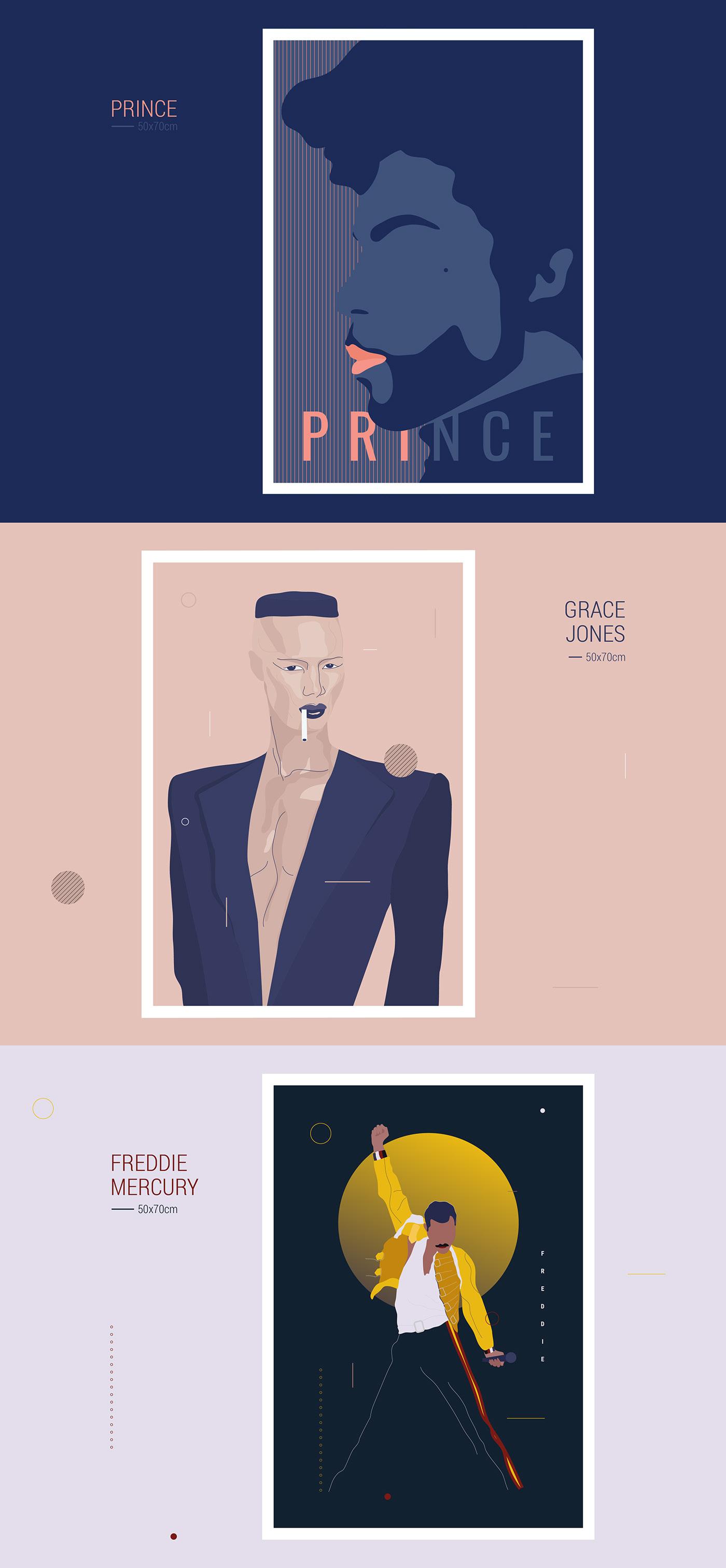 ILLUSTRATION  poster music mercury grace jones prince graphic design  simple vector Icon