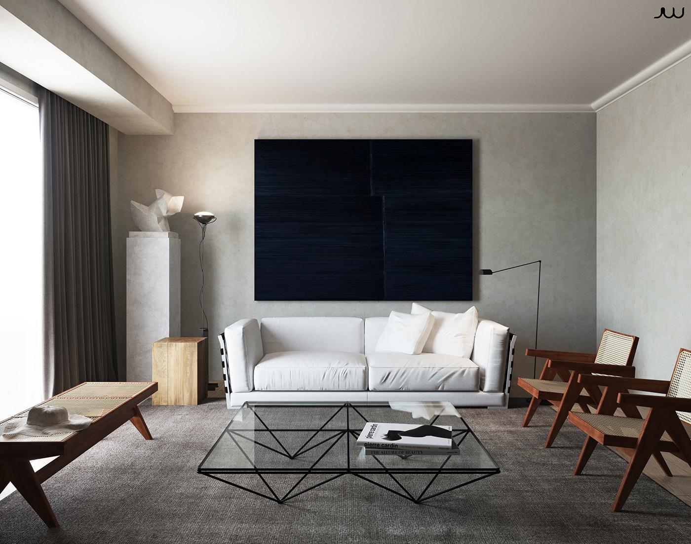 Render Interior design styling  interior style calm architectural CGI studio