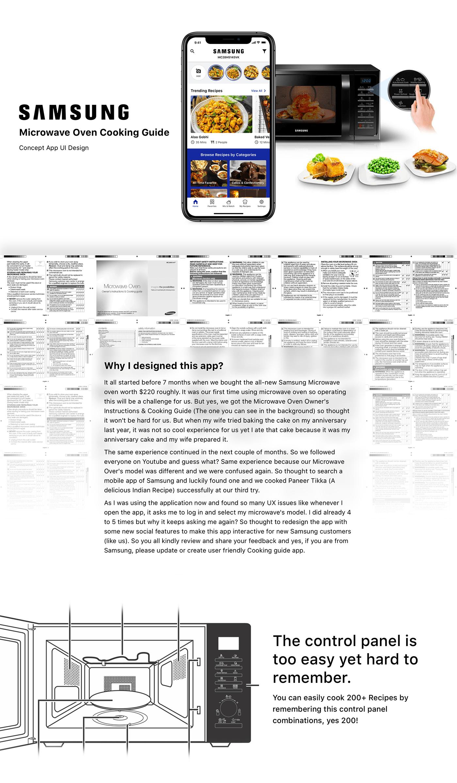 Case Study Clean UI Cooking Guide iphone app design microwave oven Samsung ui design uiux UX design ux issue