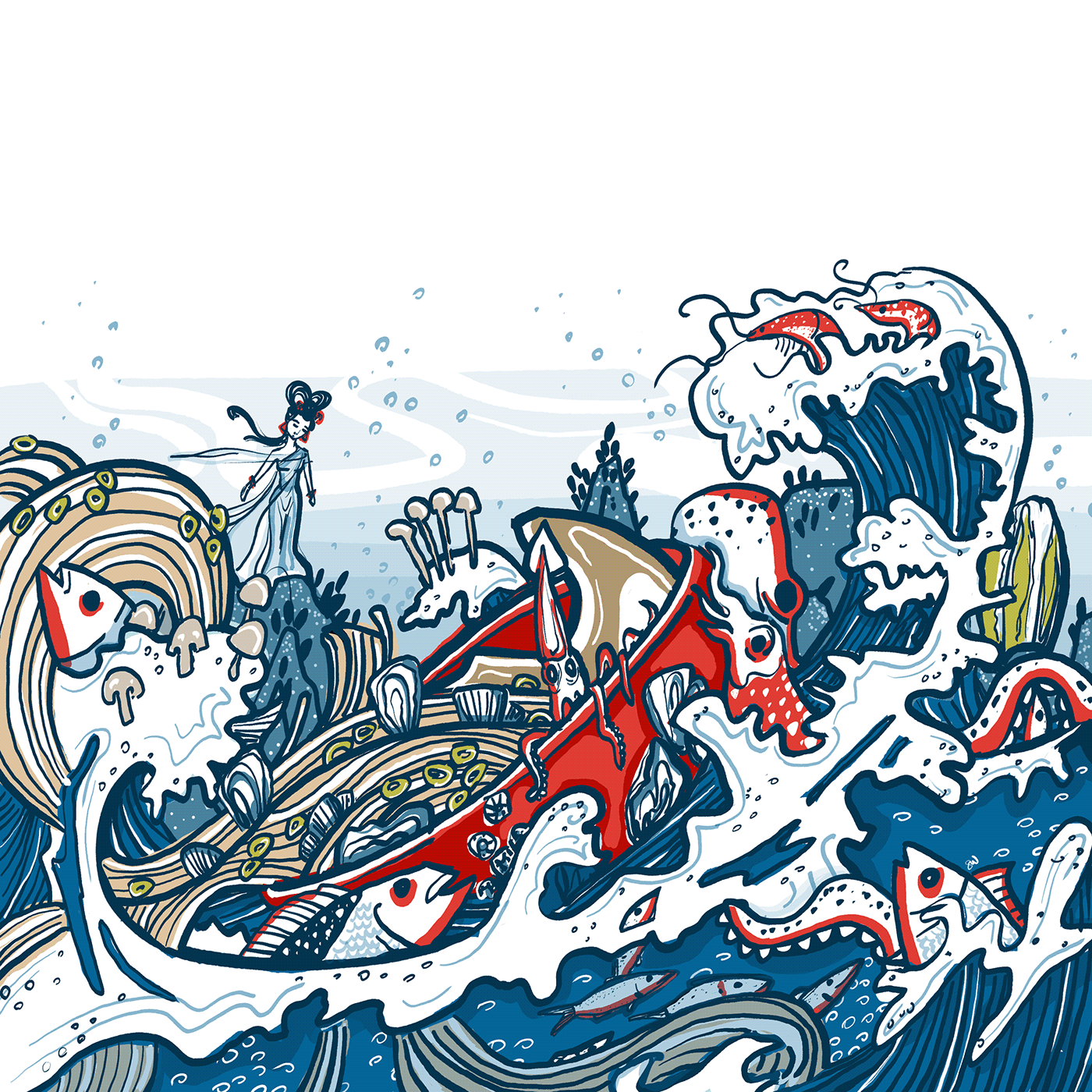 Seascape of goddess looking down as sea creatures spill from noodle bowl