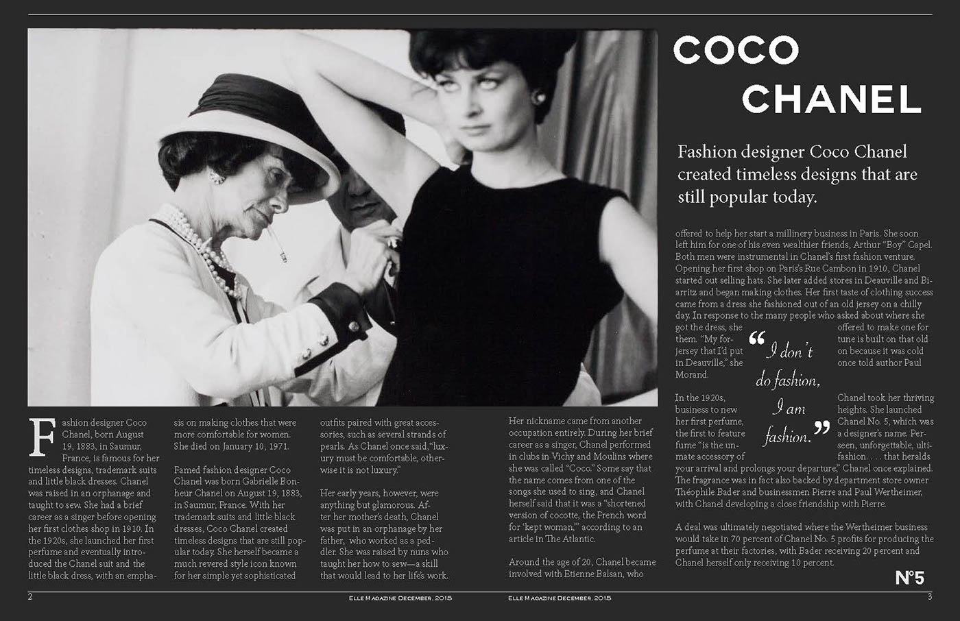 318bab44cdf Magazine Spread-Coco Chanel on Behance