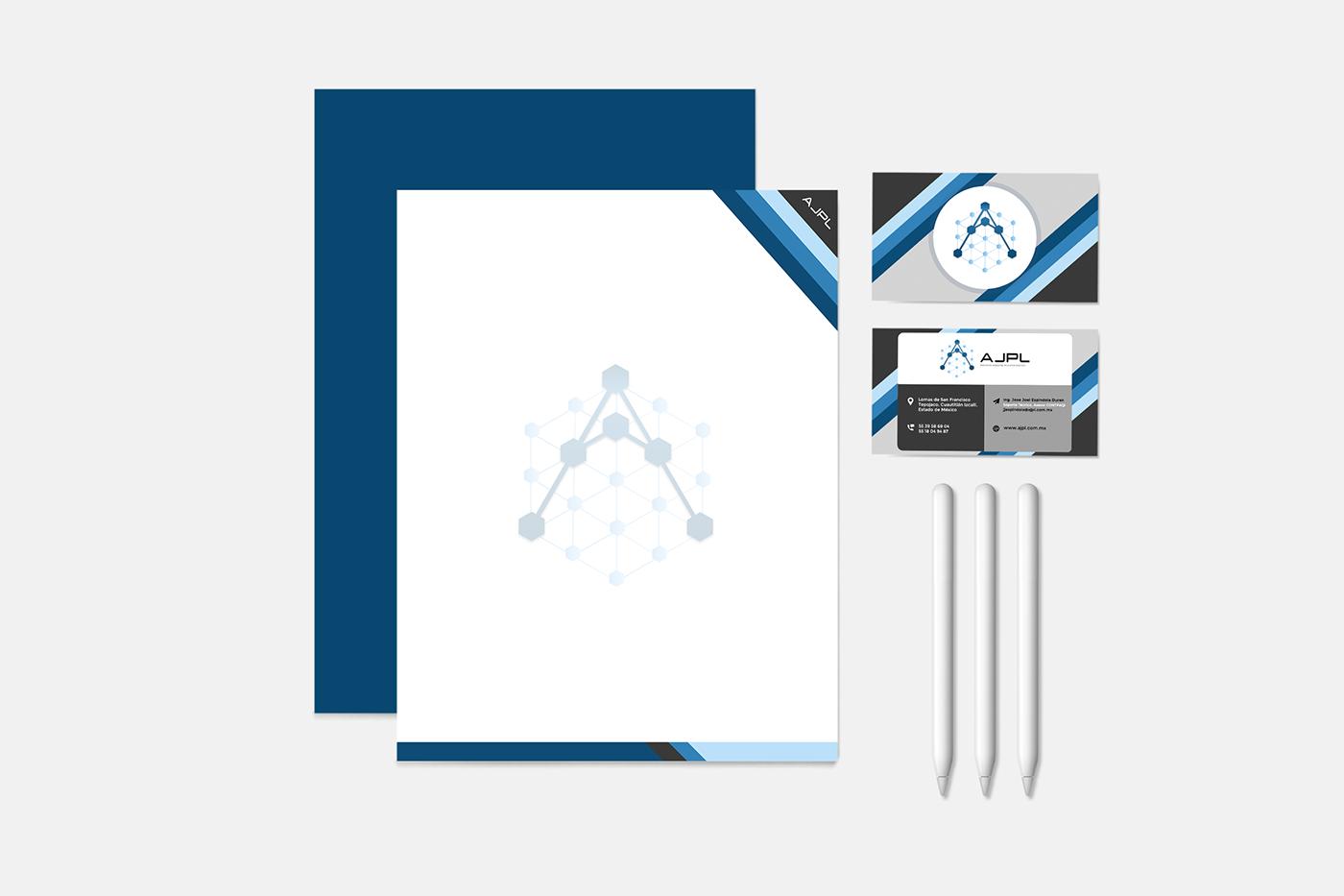 diseño de marca diseño gráfico hoja membretada Papelería corporativa tarjeta de presentación