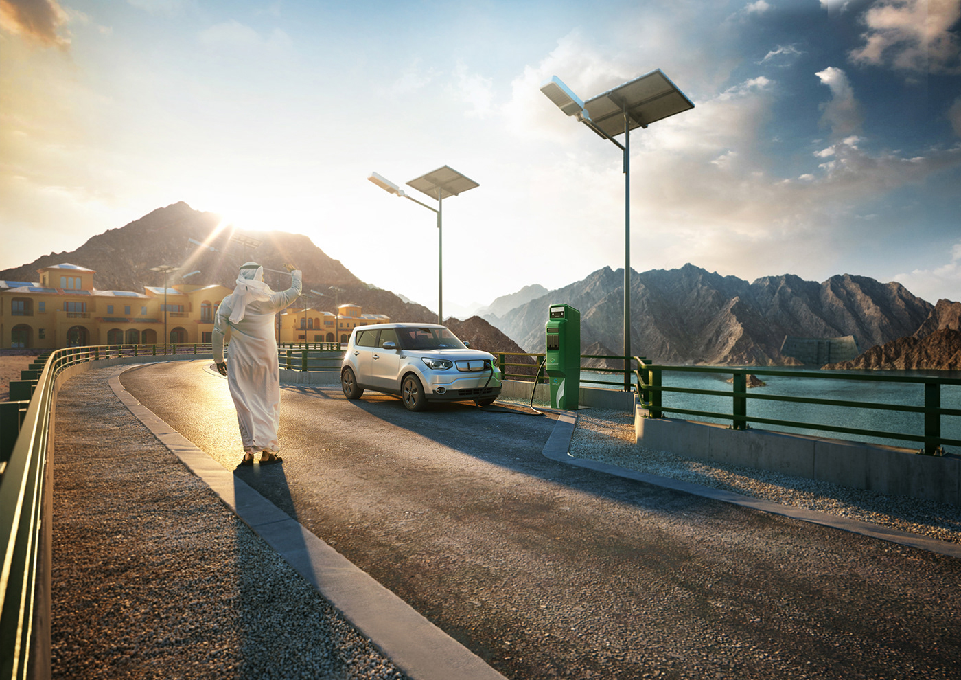 Dewa Smart Initiatives Key Visuals On Behance Solar Panel Car For The Dubai Electricity And Water Authoritys 2 Ie Ev Cars Charging Station Project Roof Top