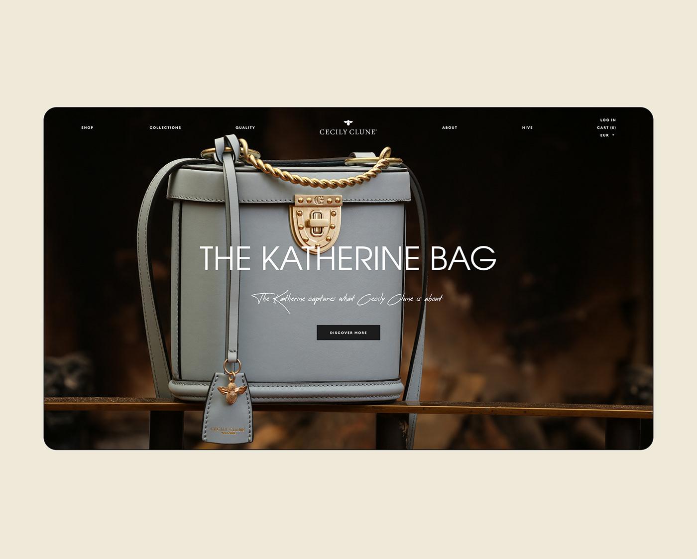 bags clean Ecommerce Fashion  luxury mobile UI ux shop Web Design