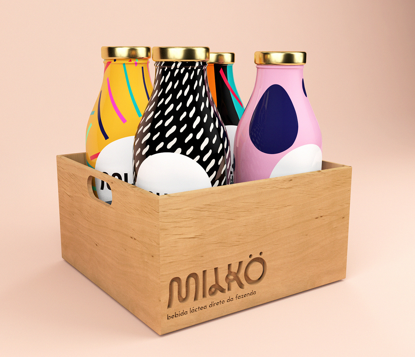 Packaging bottle milk color pattern branding