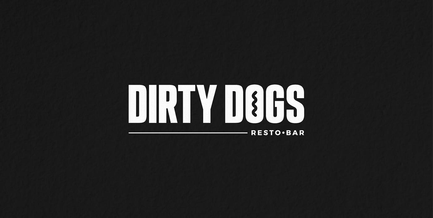 menu design Logo Design art direction  branding  Restaurant Identity Fast food hot dog minimal design Dirty Dogs Montreal