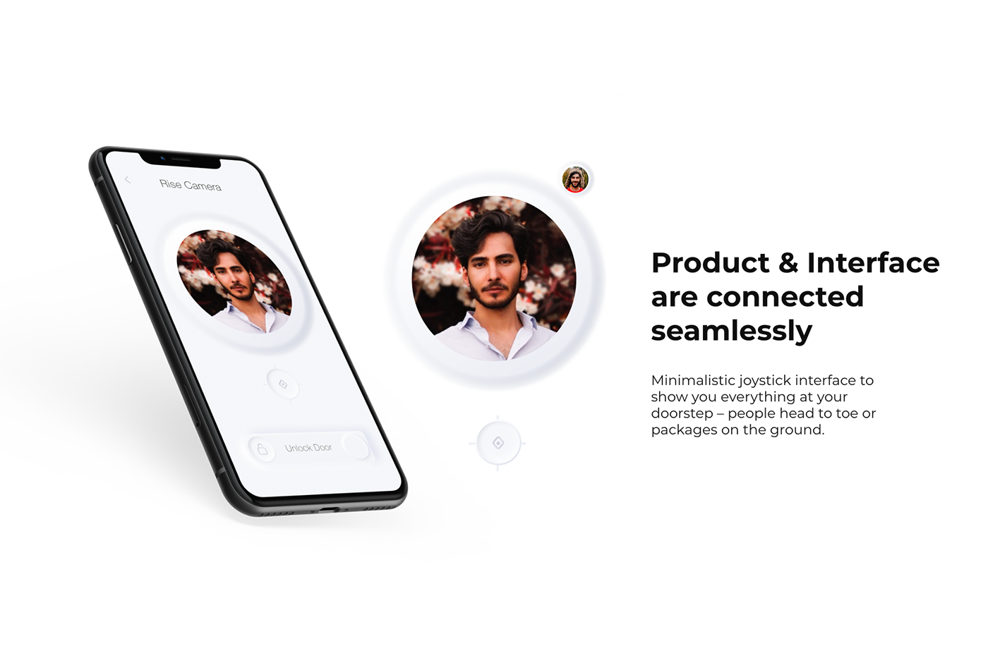 camera cmf industrial design  minimal ui Neo morphism security ui design video chat Video Door Bell Behance