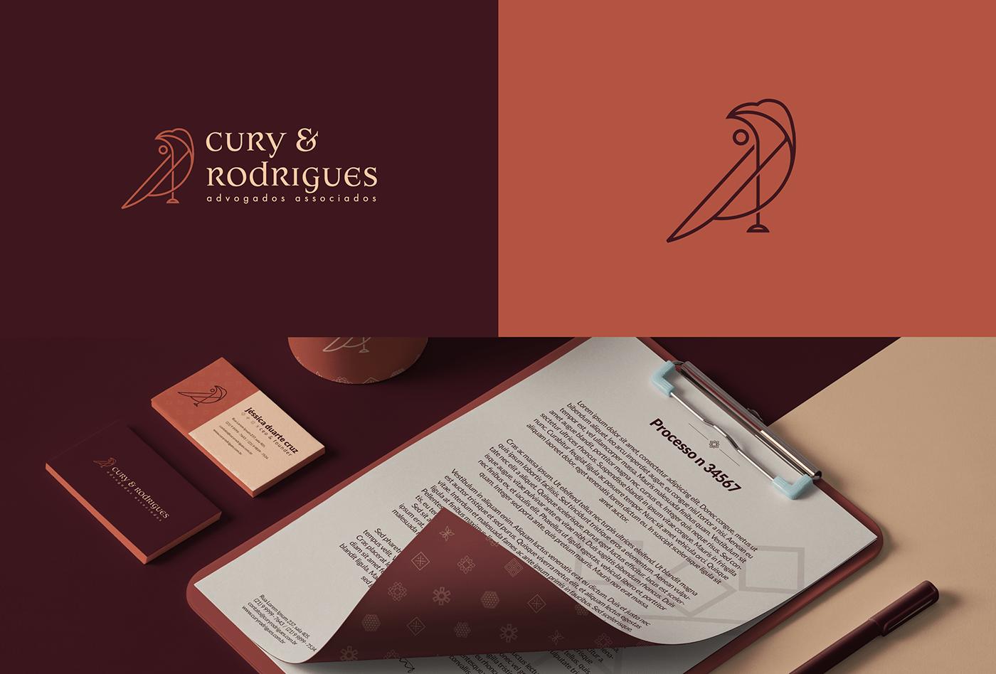 A imagem contém a logo da Cury & Rodrigues, o símbolo e uma papelaria.