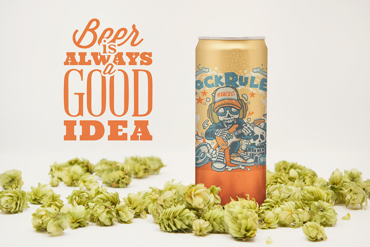 12oz beer can free freebie front hop mock-up Mockup photo