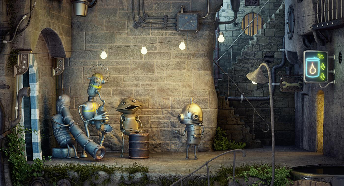 Ловим кота, чистим трубу, обыгрываем в крестики нолики робота quest, machinarium, прохождение, головоломки