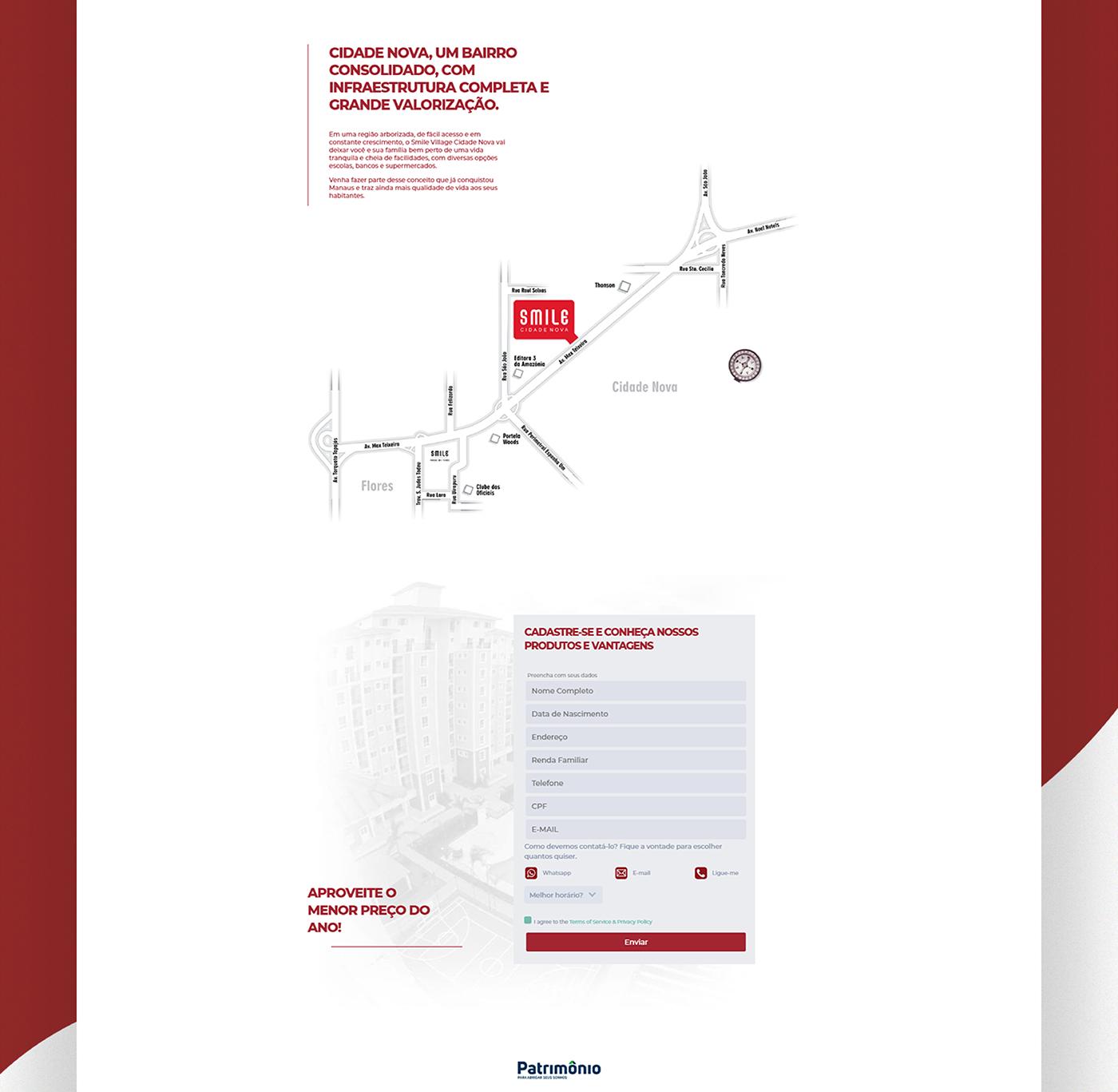 landing page Smile Cidade Nova smile Web Design  patrimônio manaus manaus ux UI Web site
