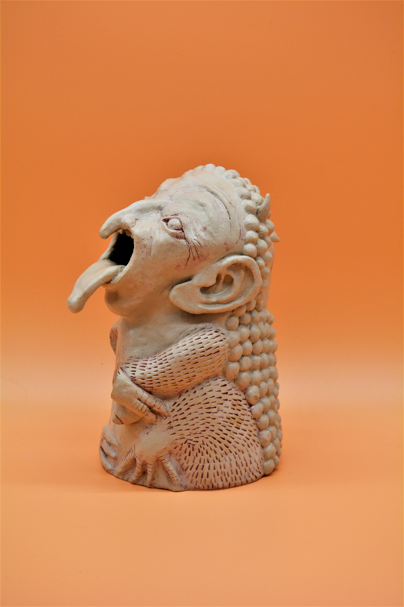 art ceramic doubleface grotesque sculpture