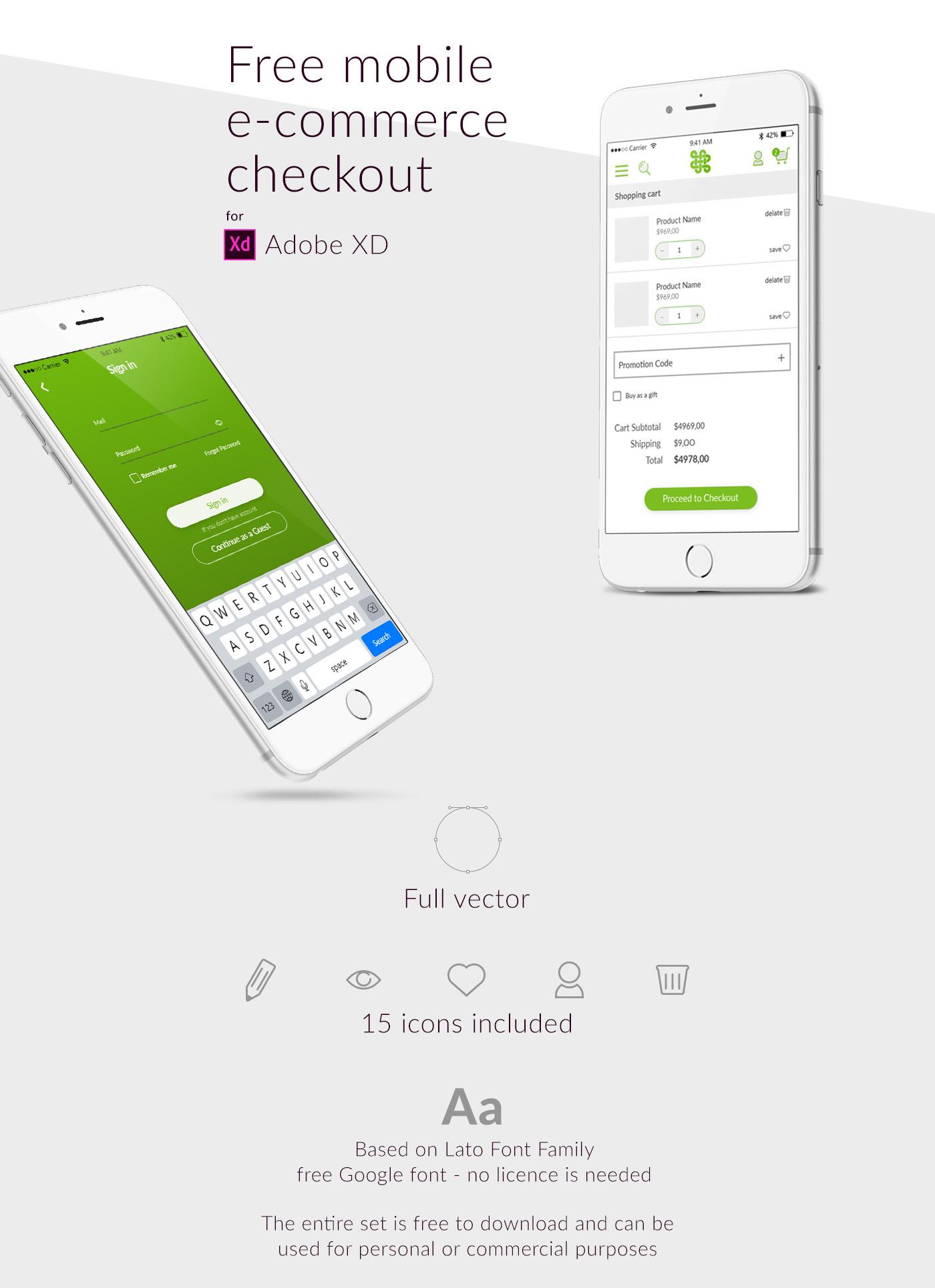mobile design Adobe XD checkout e-commerce