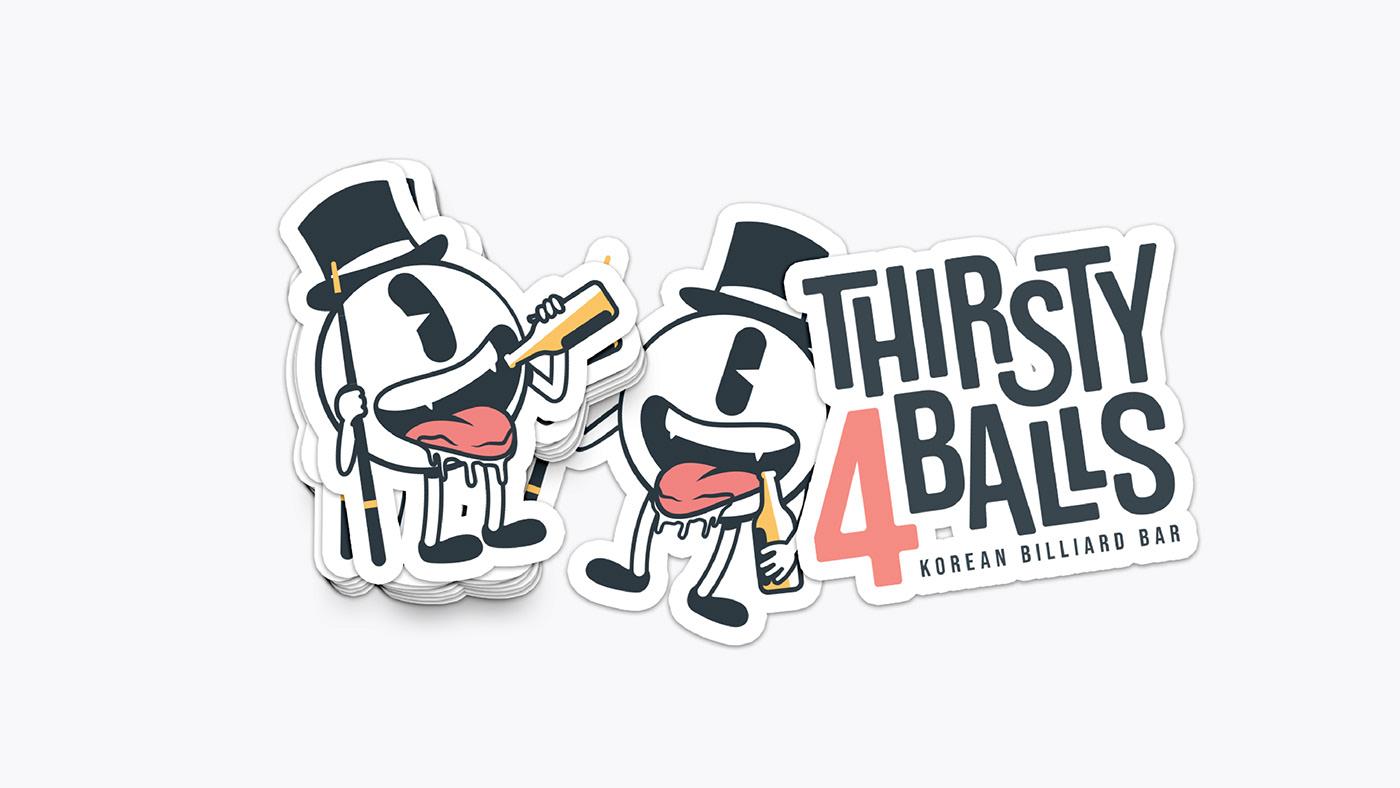 branding  graphic design identity visual billiard bar Mascot Character beer