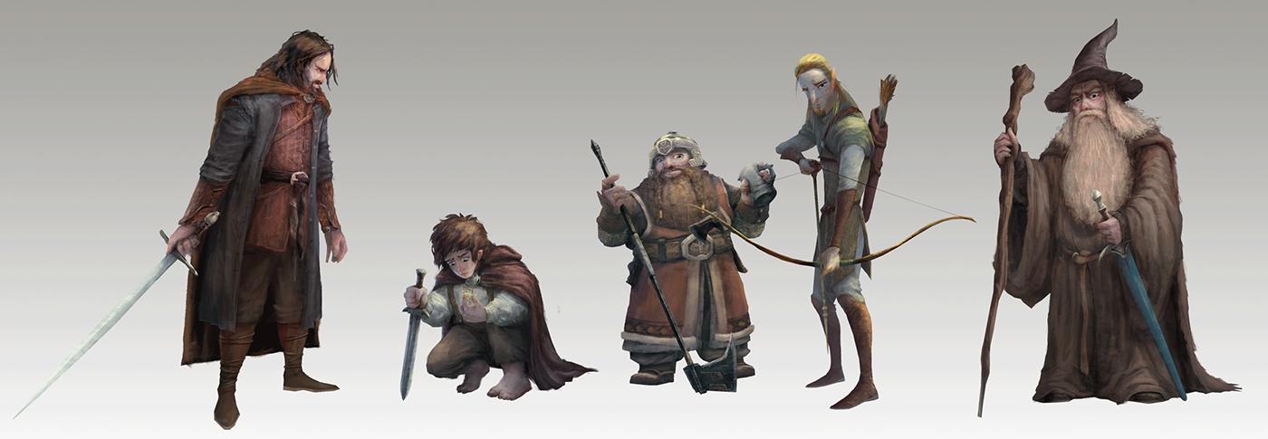 The Lord of Rin Aragorn legolas Frodo Baggins Gimli gandalf J.R.R.TOLKIEN Visual development art digital painting Character design