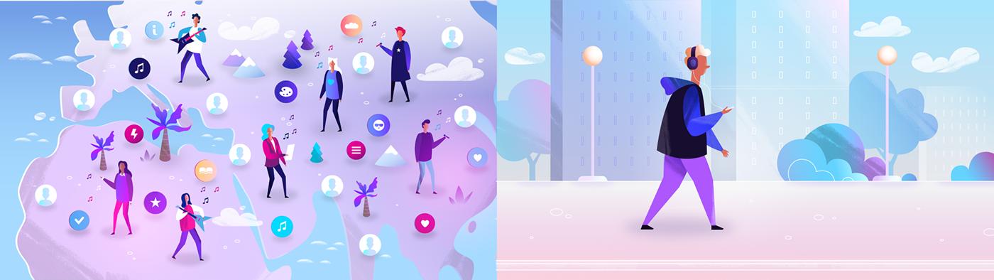 explainer social network blockchain animation  illustrations Isometric isometry motion design Web Design