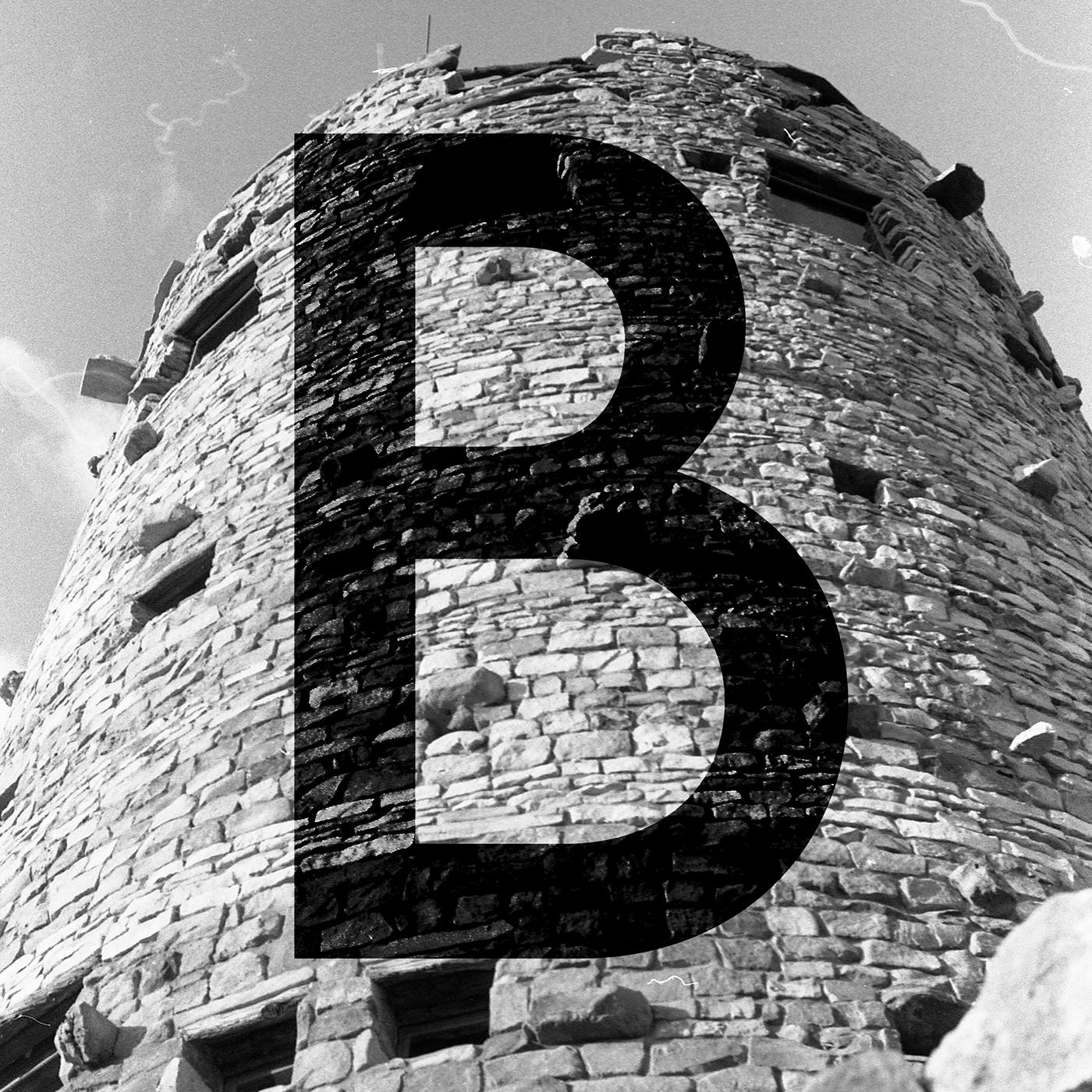 Capital B Photographic Illuminated Capital. Film photograph with digital manipulation.