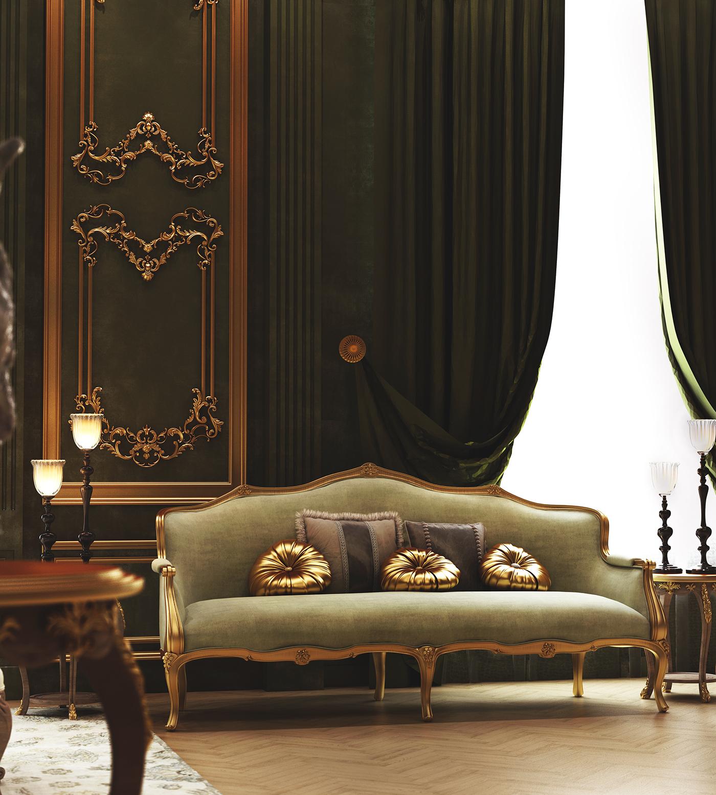 Classic green gold Interior fuirniture design velvet royal bedroom