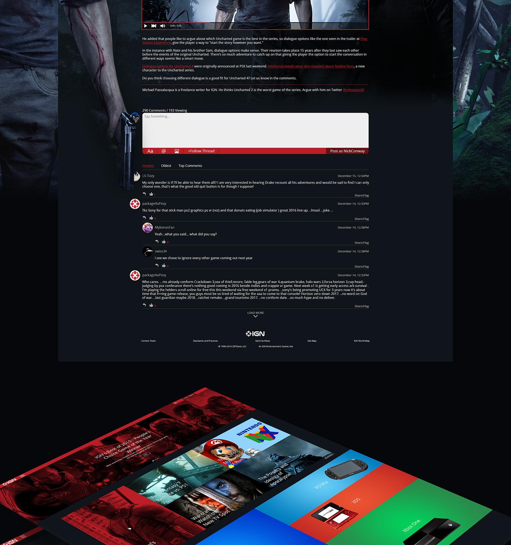 ign web ui ux concept on behance