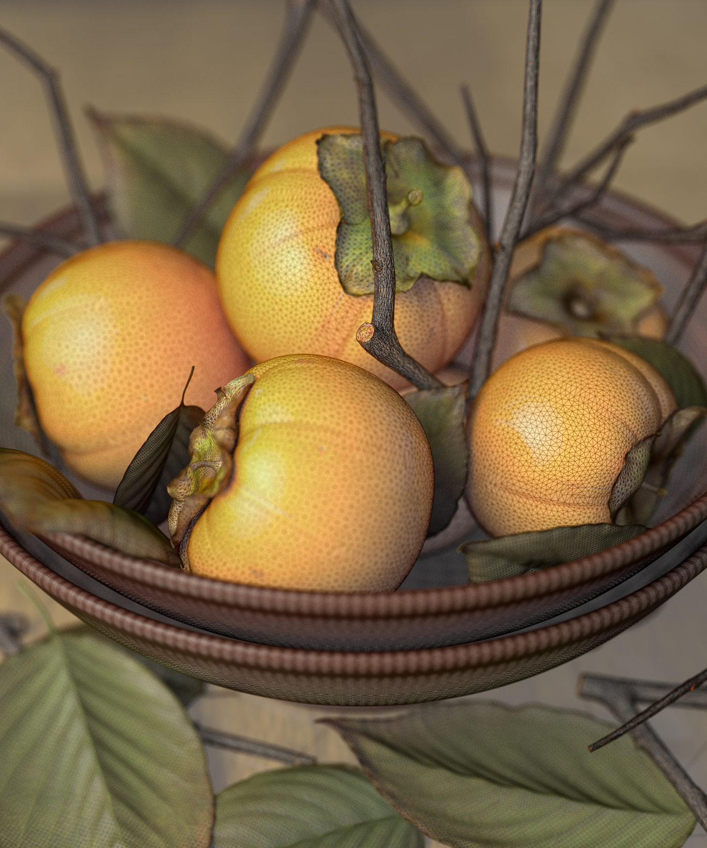 Full CG persimmon Render OCTAN houdini Food  fruits