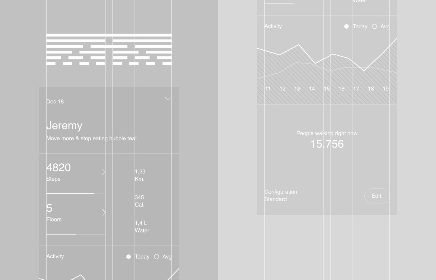 Brutalism black White app UI Animation pedometer steps running heath tracking