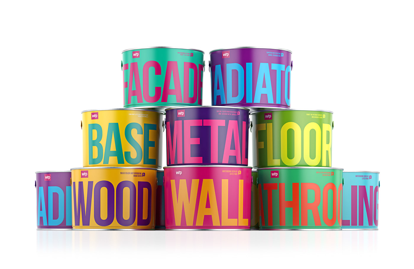 paint bright package identity logo colors Finnish friendliness innovation paint can logo development brand identity paints colorful lettering