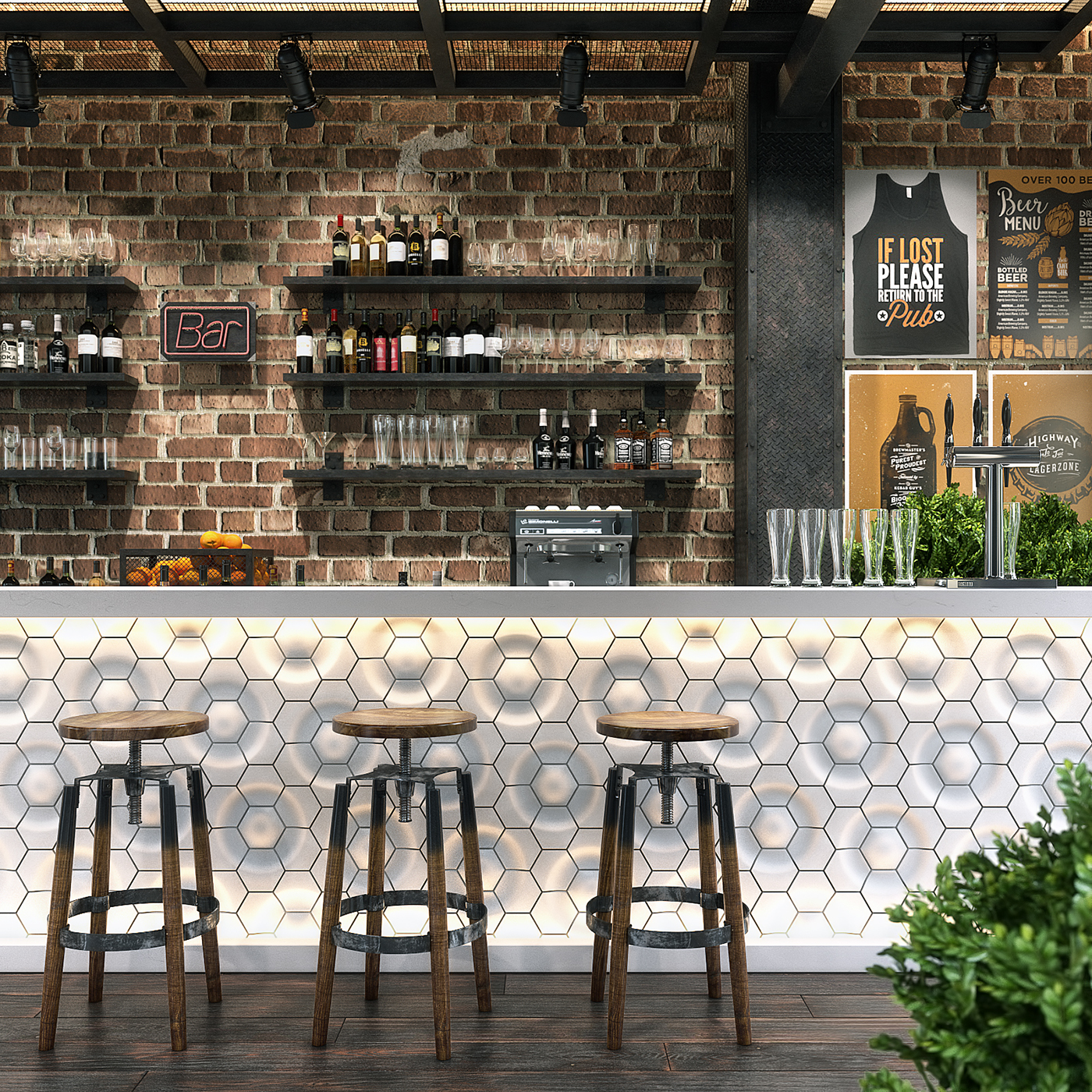 Bar counter 3d model on behance for Food bar 3d model