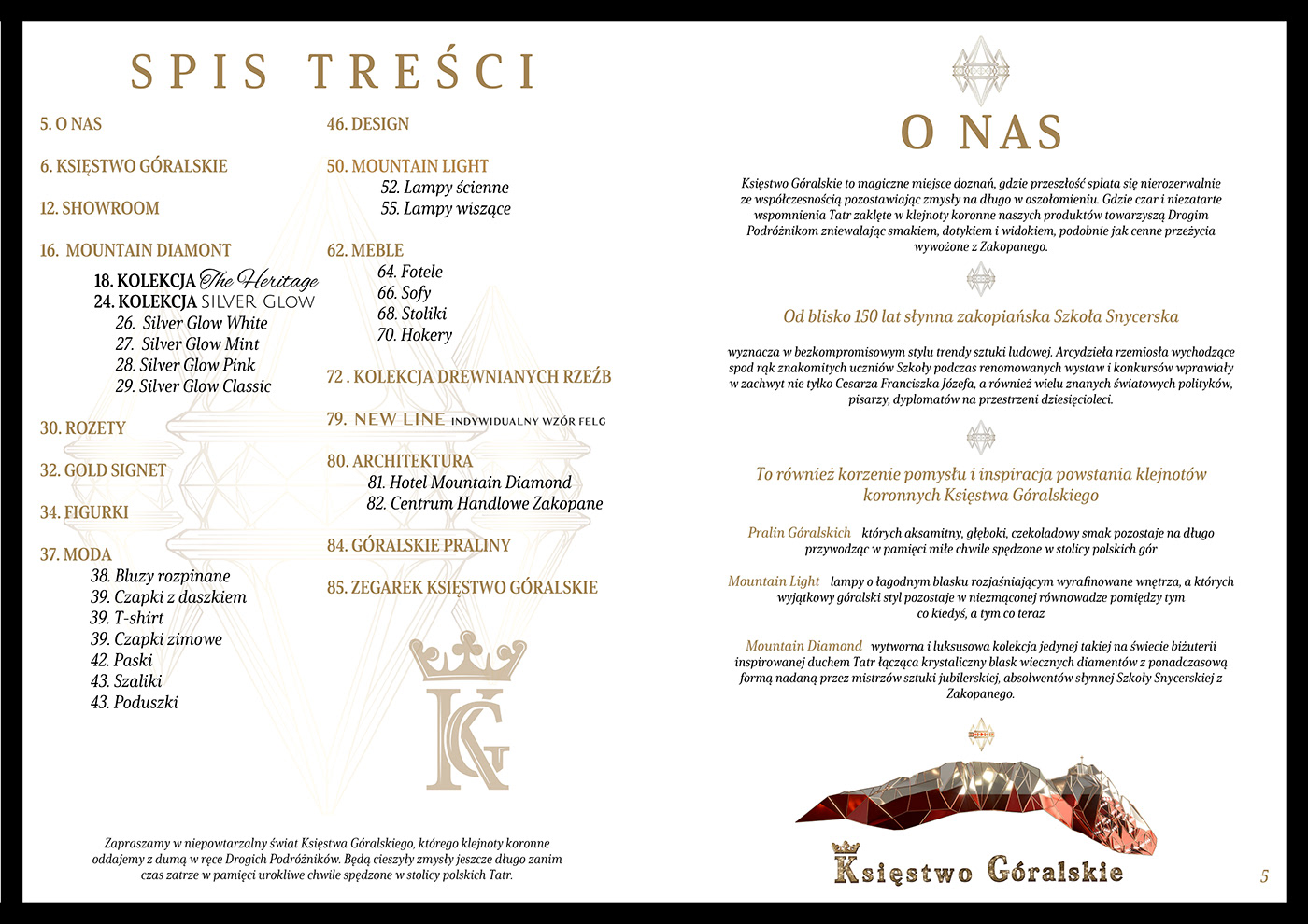"""Catalog design for """"Księstwo Góralskie"""" with jewelry, clothing, furniture, diamonds, car rims, gold"""