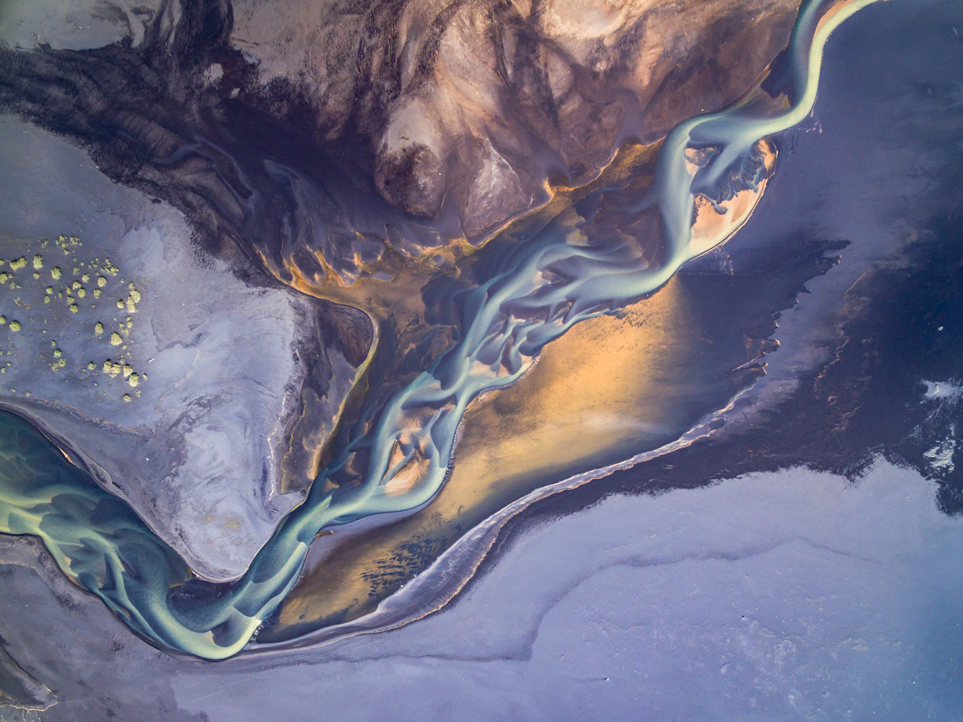 Aerial glacialriver iceland icelandscapes river structures water