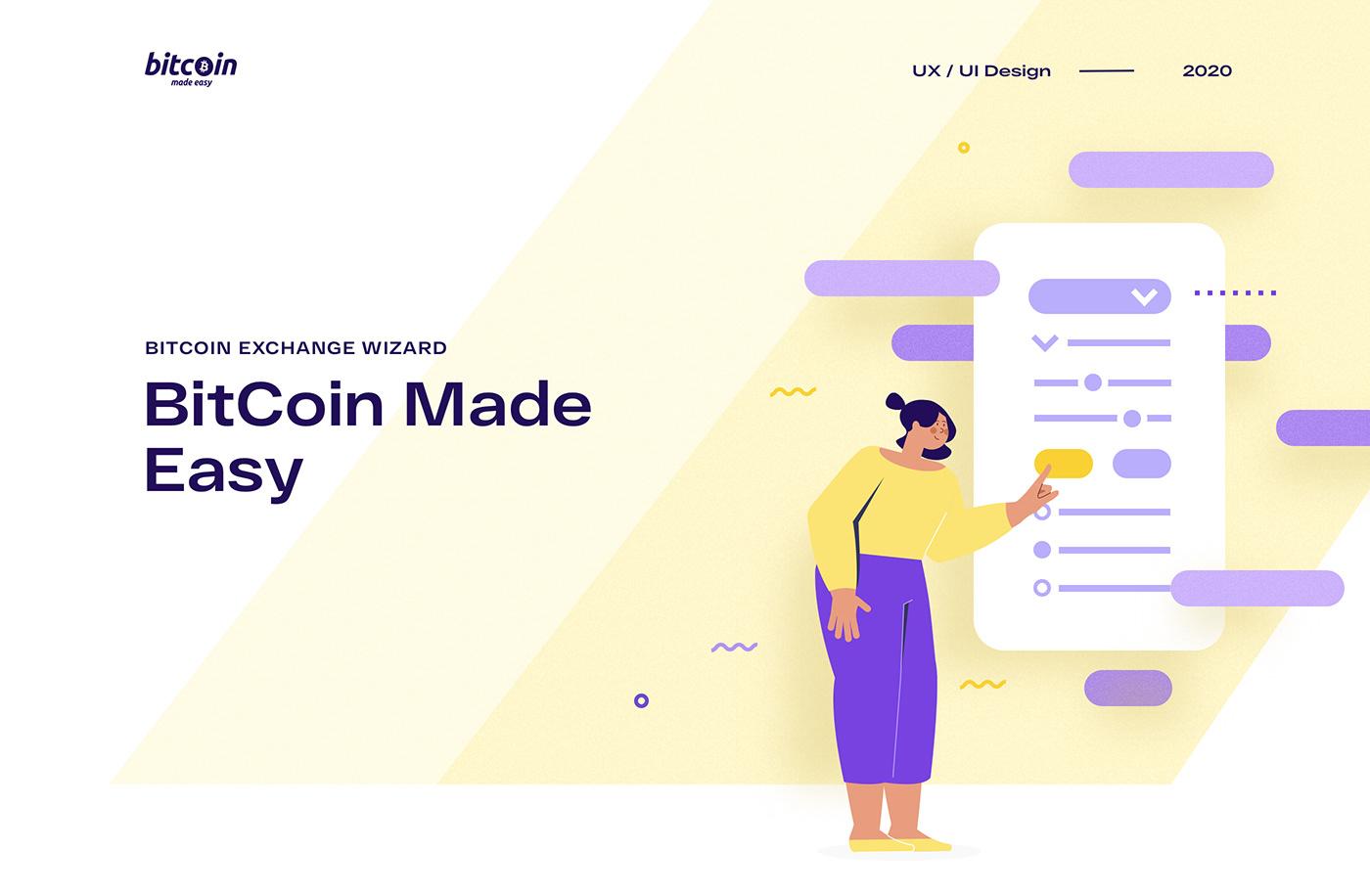 bitcoin cryptocurrency exchange explainer ILLUSTRATION  UI/UX wizard