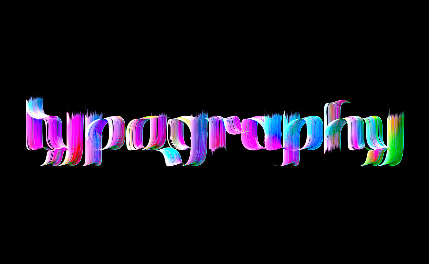 3D typography brush Calligraphy   font lettering neon poster rough typography   vivid