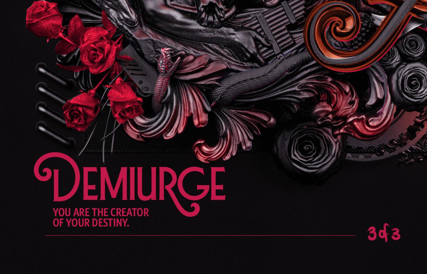 God Creativity 3D Type 3D typography 3D snakes serpent Acanthus Flowers mythology