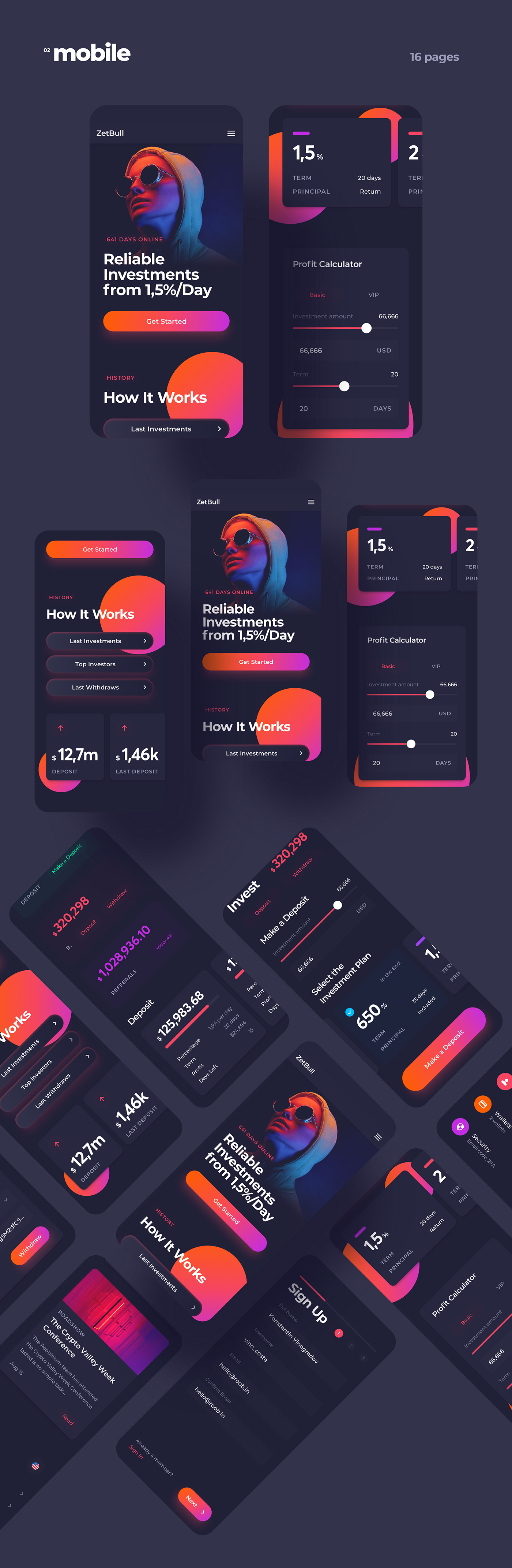 account bitcoin blockchain crypto cryptocurrency finance Investment landing page neon uidesign