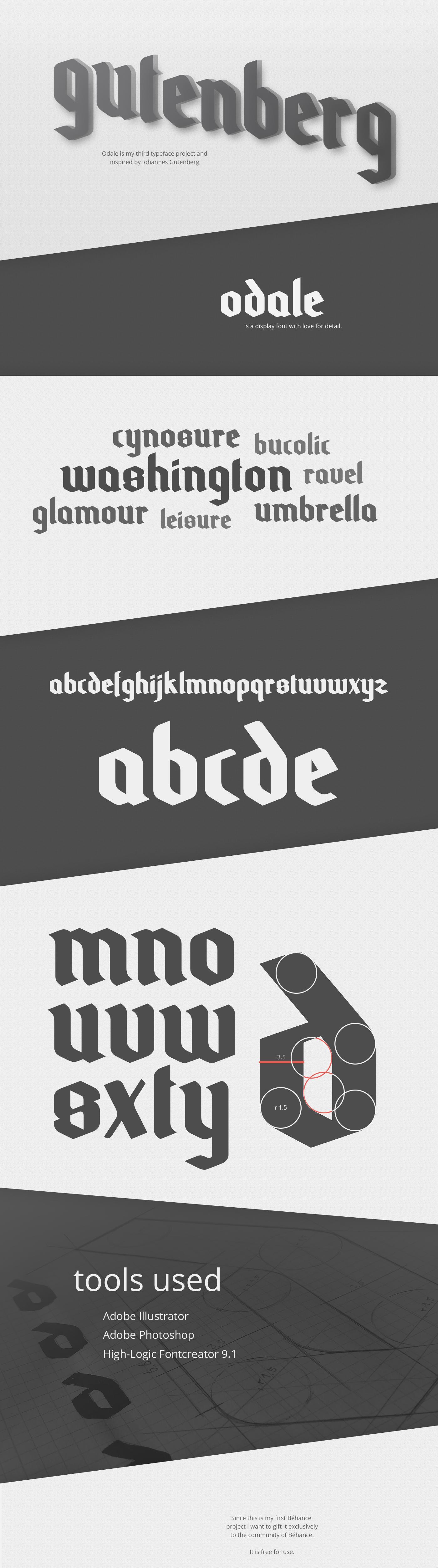 Odale Typeface medieval gothic free font Gutenberg Johannes Gutenberg modern