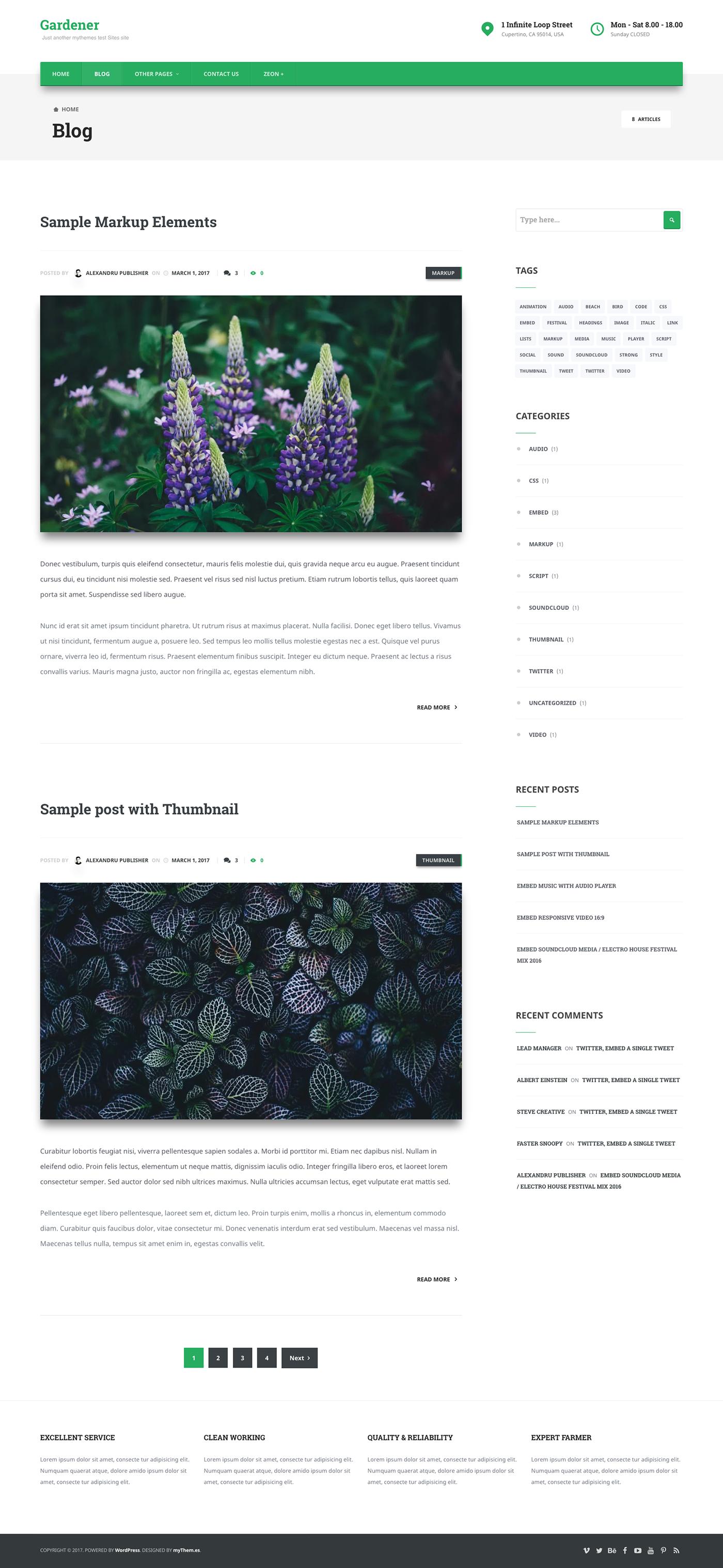 Small Business tempo child theme gardener wordpress template