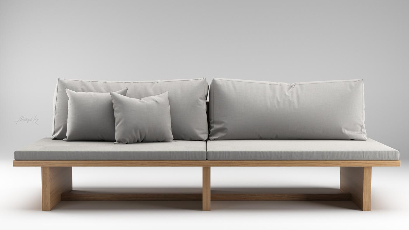 Modern sofa 3d model on behance