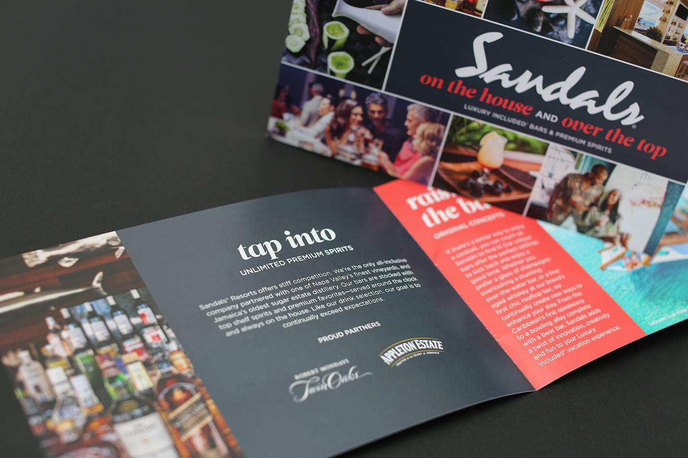 brochure trifold Mixology bar Sandals Resorts