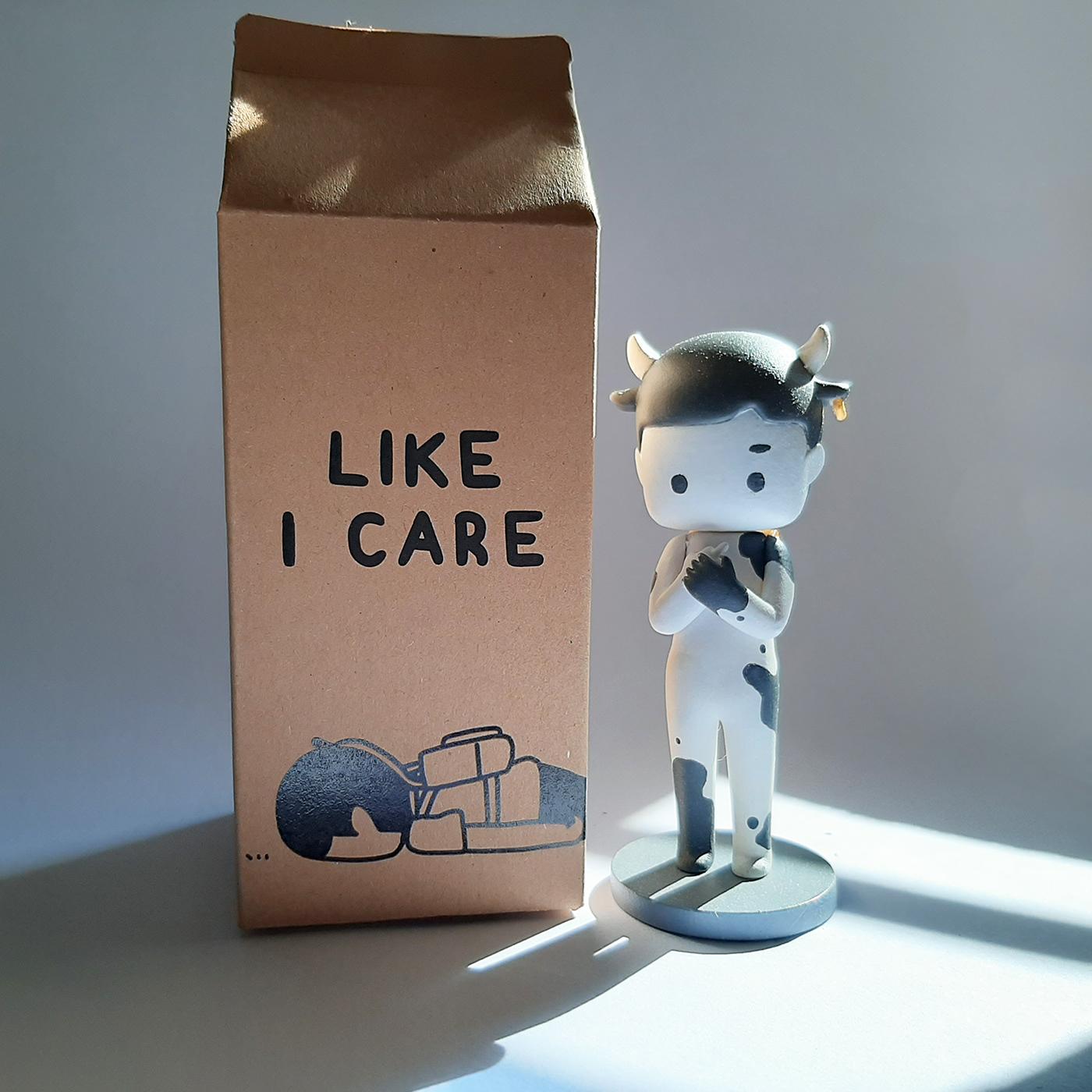 acrylic art arttoy cow milk toy
