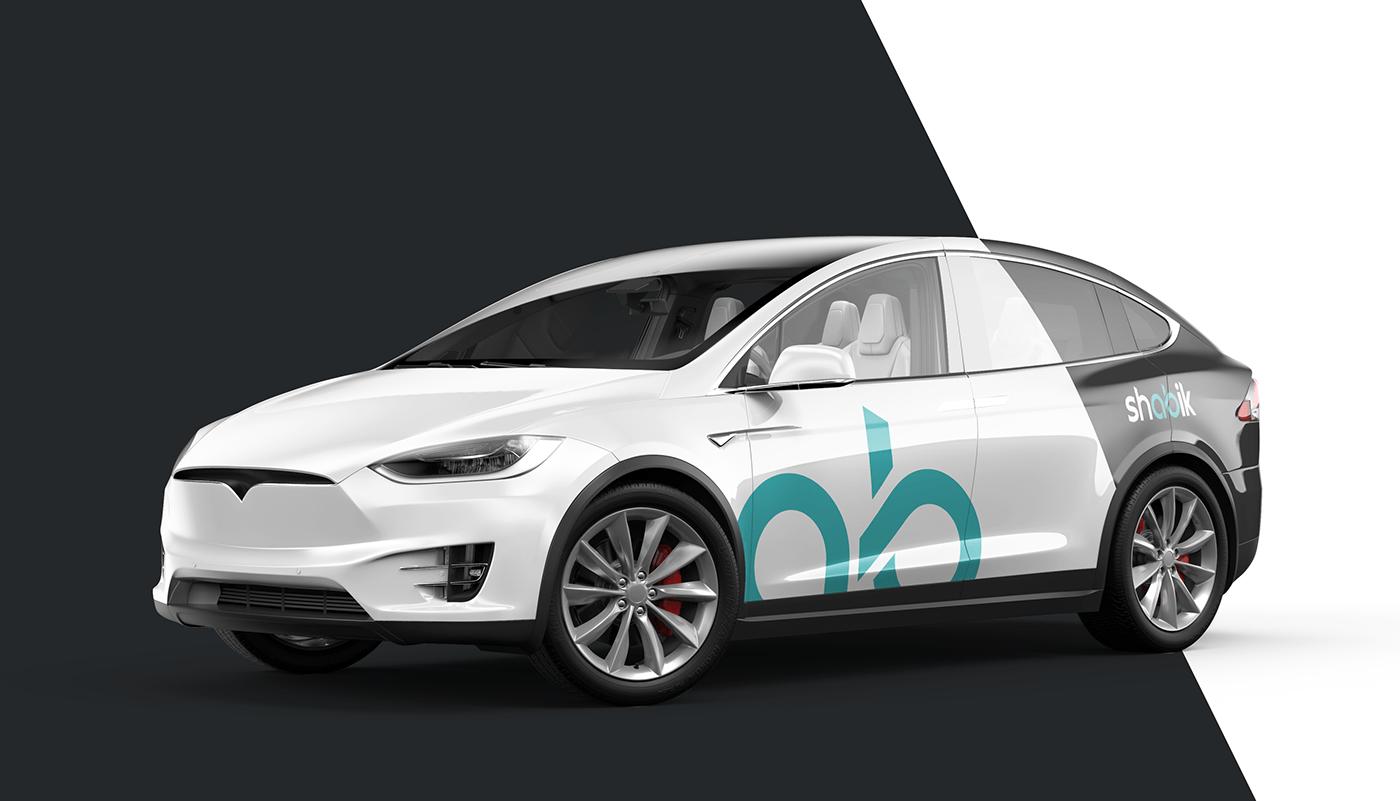 Tesla model x with branding