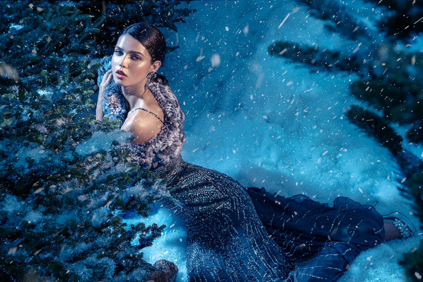 Christmas couture designer dress editorial set design  snow winter miami photographer retoucher