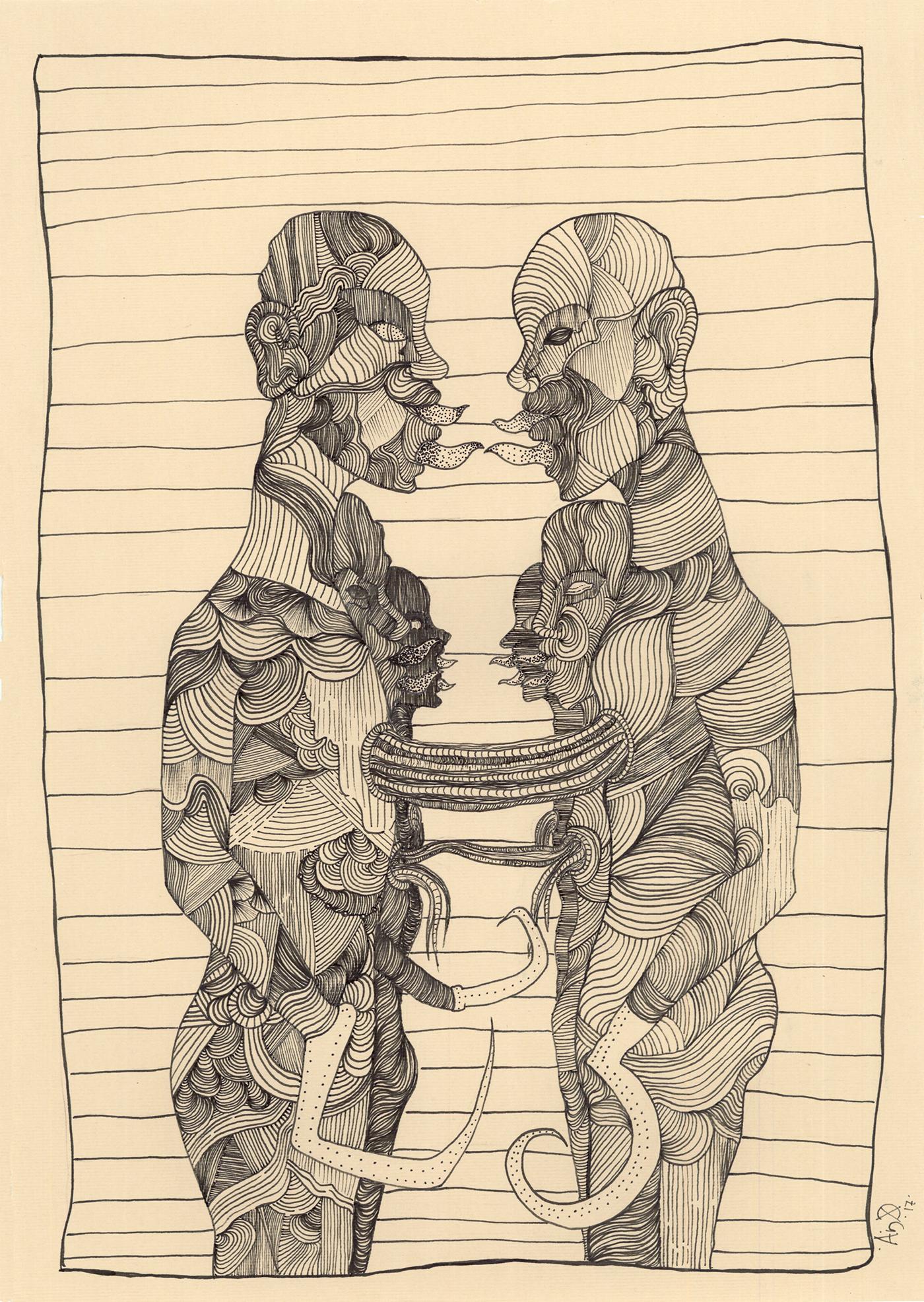 ILLUSTRATION  ink humanoids post human sci-fi body horror line art