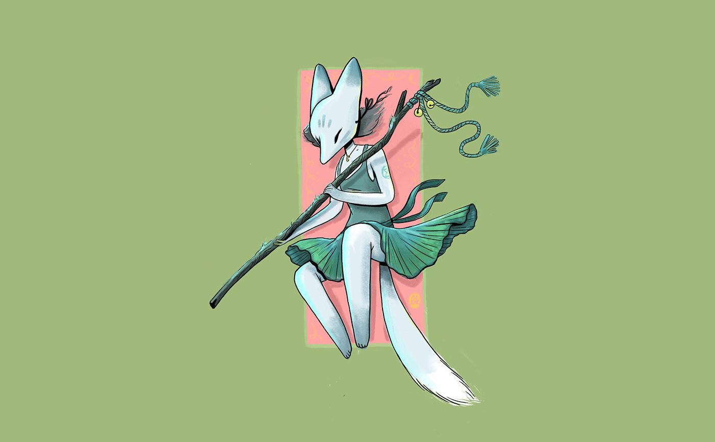 cartoon Character design  comic comic art Drawing  FOX ILLUSTRATION  kitsune Nature