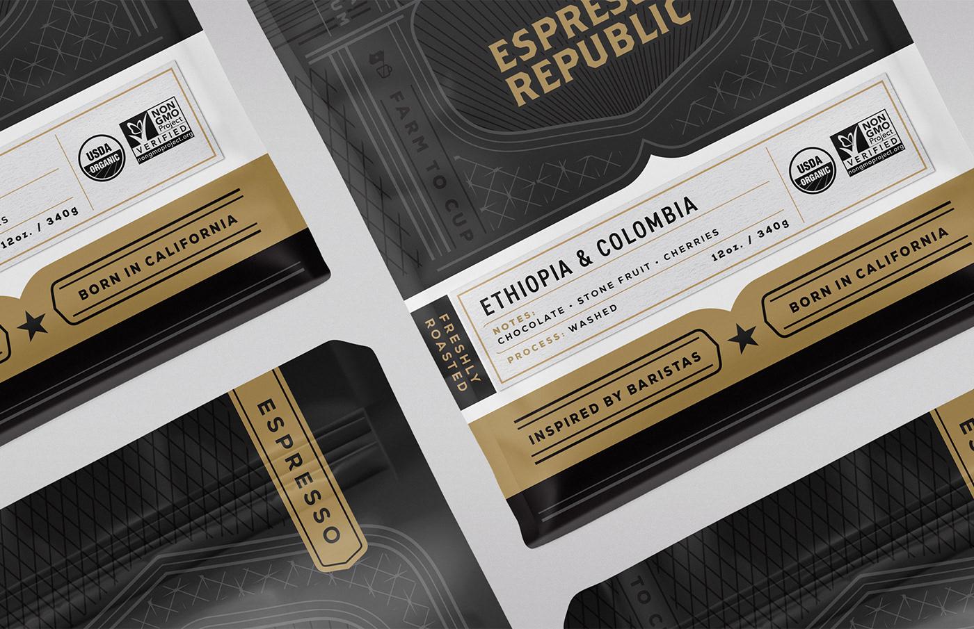 coffee bag packaging design farm design coffee packaging branding  brand identity Coffee print techniques gold foil graphic design